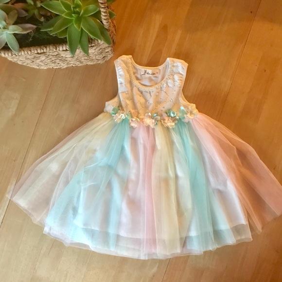 ce6335a63 Doe A Dear Other - DOE A DEAR - Rainbow Tulle Toddler Dress - 2T